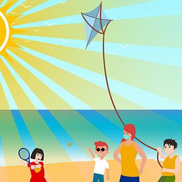 Illustration of beachgoers