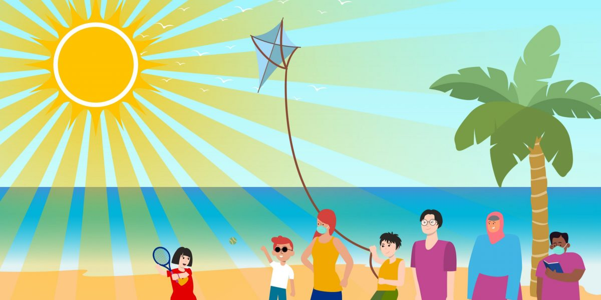Cartoon image of a variety of diverse children and adults standing on a beach in the sun