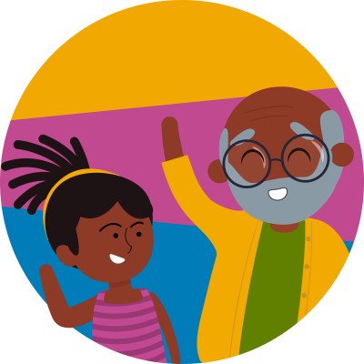 Illustration of grandfather playing with child