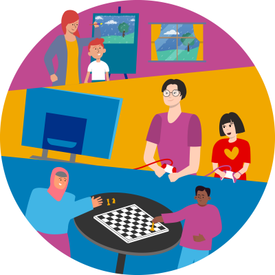 Illustration of adults and children in variety of indoor activities