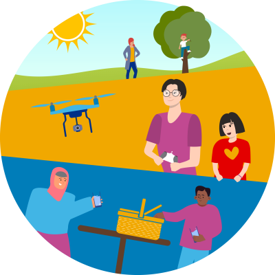 Illustration of adults and children in variety of outdoor activities